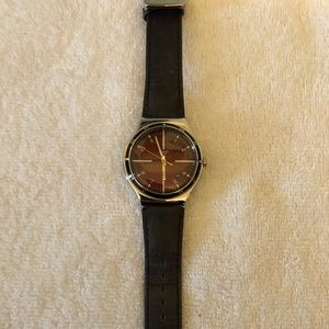 Swatch Watch with red face and leather band